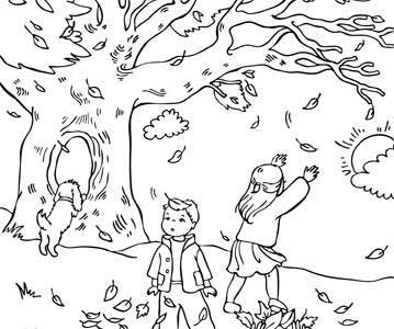 Autumn Coloring Pages5 on Four Seasons Worksheets For Kindergarten